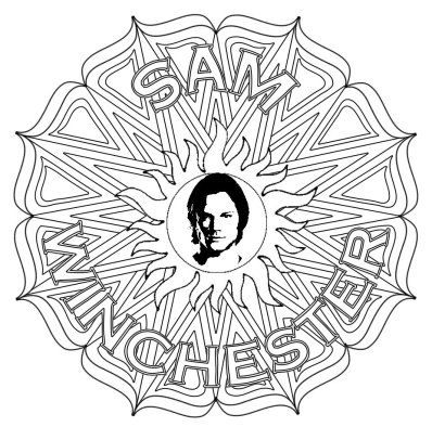 Sam Winchester Supernatural Mandala Grown Up Colouring Etsy Coloring Pages Pattern Coloring Pages Cute Coloring Pages