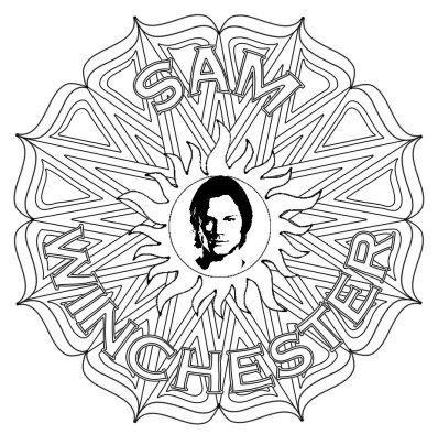 Sam Winchester Supernatural Mandala Grown Up Colouring