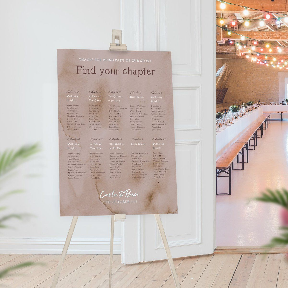 Literary Table Plan,Book Lovers Wedding Seating Chart