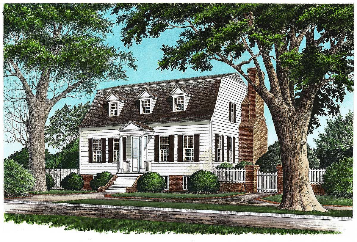 Plan 32457wp Gambrel With Secluded Master Suite Colonial House Plans Cottage House Plans Cottage Plan