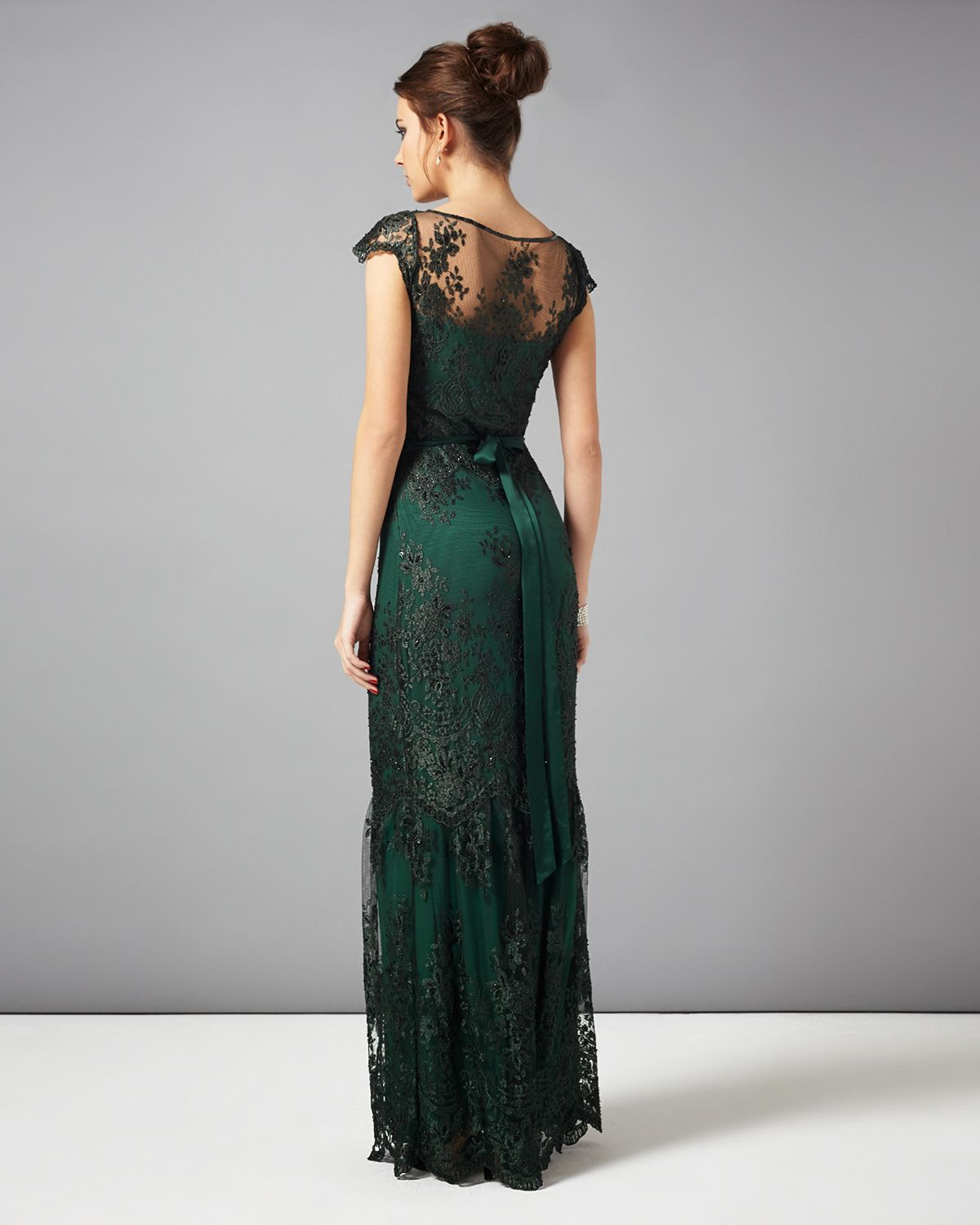 Dresses | Green Cindy Lace Full Length Dress | Phase Eight | how do ...