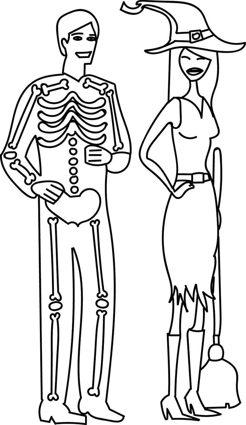 Halloween Costume Skeleton Man And Witch Girl Contest Coloring