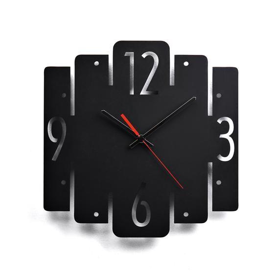Modern Wall Clock Black Kitchen Wall Clock Rustic Wall Clock Etsy Minimalist Wall Clocks Wall Clock Rustic Wall Clocks