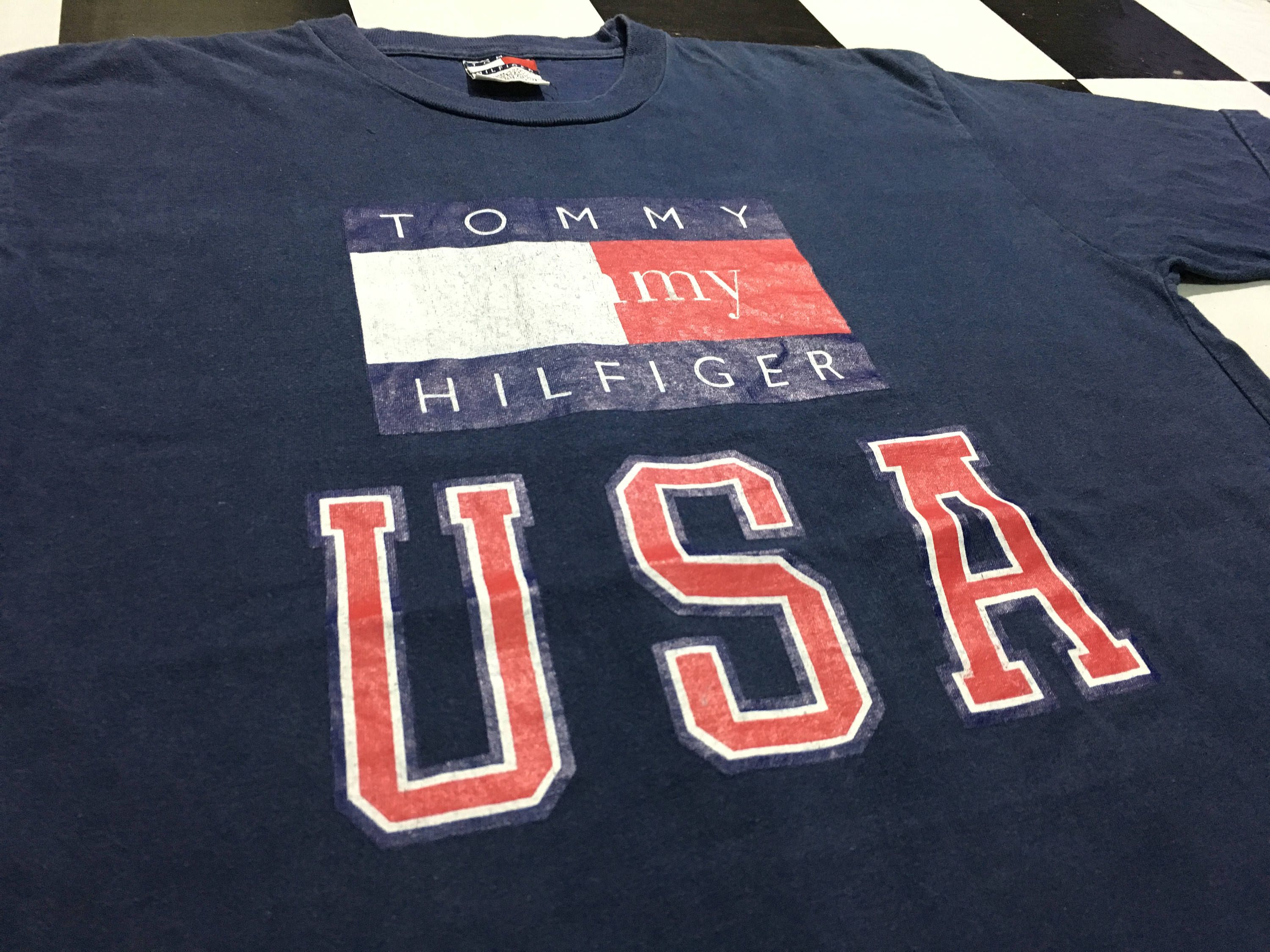 c4a88b4c4 Vintage Tommy hilfiger t shirt big flag logo spell out tommy hilfiger usa  Size L Made in usa Tommy usa box logo by AlivevintageShop on Etsy