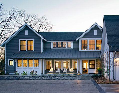 Best Blue House Farmhouse Casement White Windows Google 400 x 300