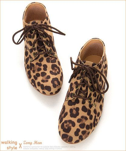 23561e0b718b Womens Leopard Print Boyfriend Style Oxford Lace Up Flat Casual Shoes Brown  Gray