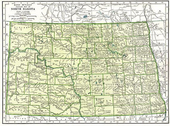 1942 Vintage NORTH DAKOTA Map Antique Map of North Dakota State Map ...