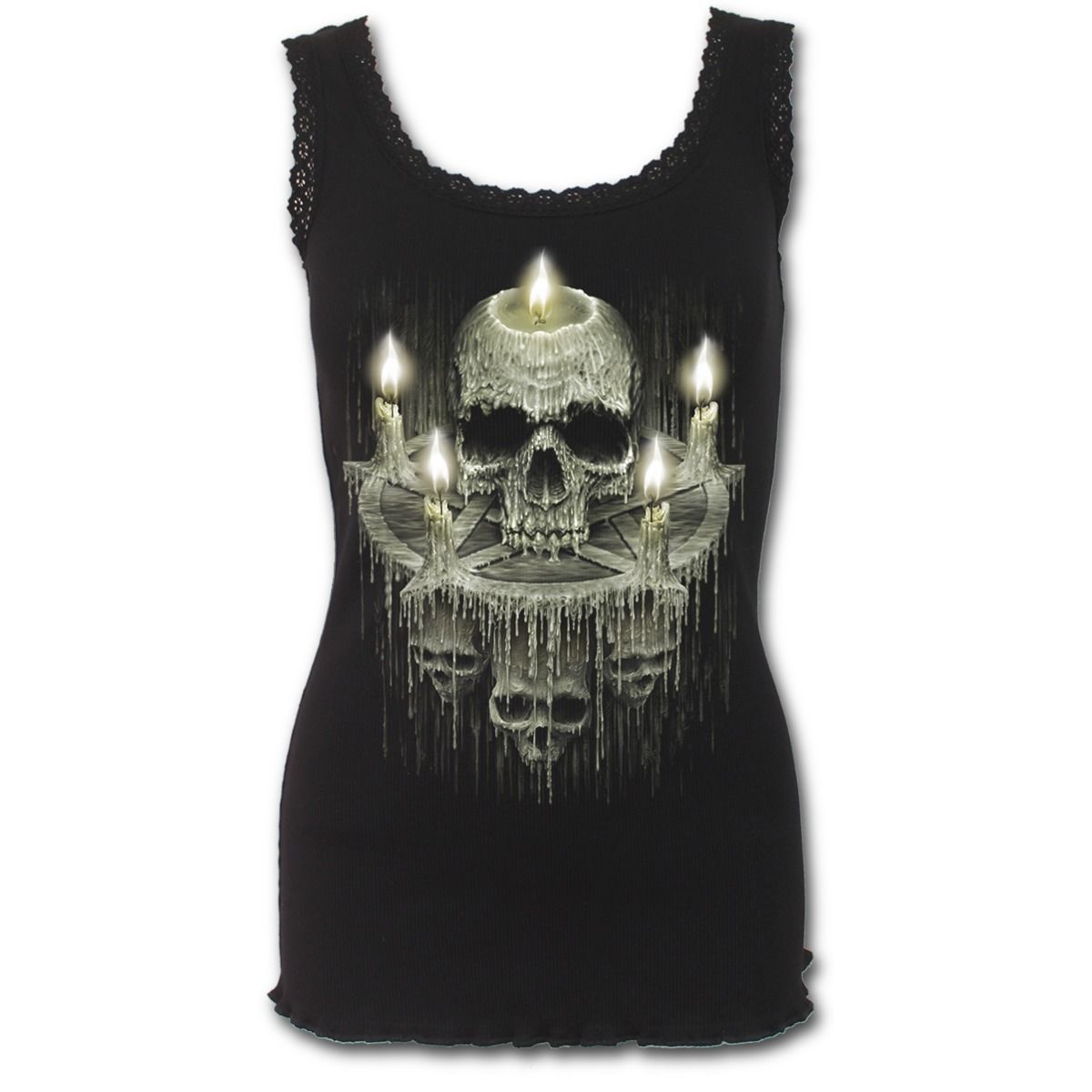 Spiral Direct - WAXED SKULL - Crochet Collar Ribbed Vest