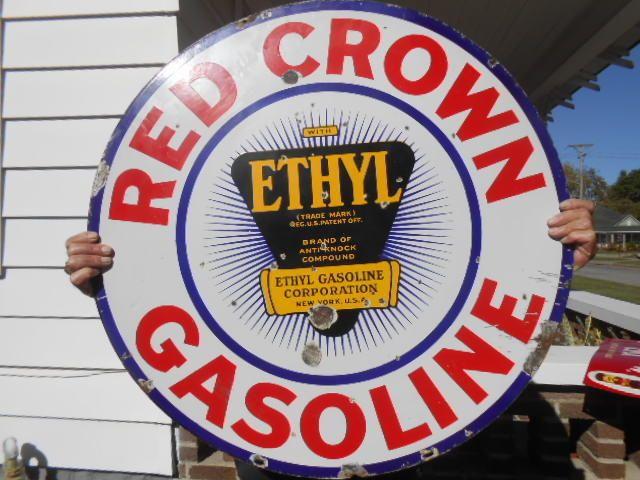 vintage sign red crown gasoline double sided porcelain w ethyl logo 30 oil gas redcrowngasoline