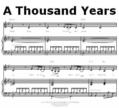 A Thousand Years Piano Sheet Music Music Christina Perri A Thousand