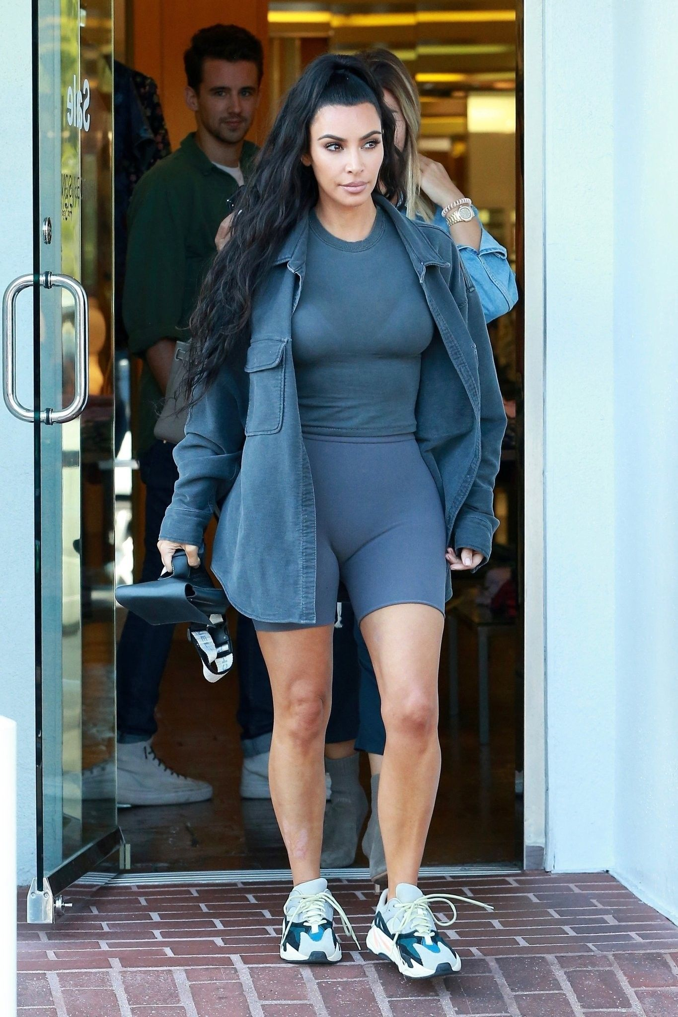 Kim In Monochromatic Gray Yeezys Kardashian Casual Outfit Kim