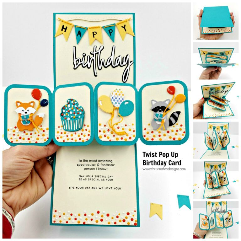 How To Make A Twist Pop Up Birthday Card Christina Hor Designs Pertaining To Twisting Hearts P Pop Up Card Templates Cool Birthday Cards Happy Birthday Cards