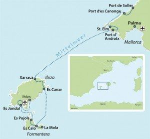 Map Spain Cycling Route Balearic Islands Ibiza Mallorca