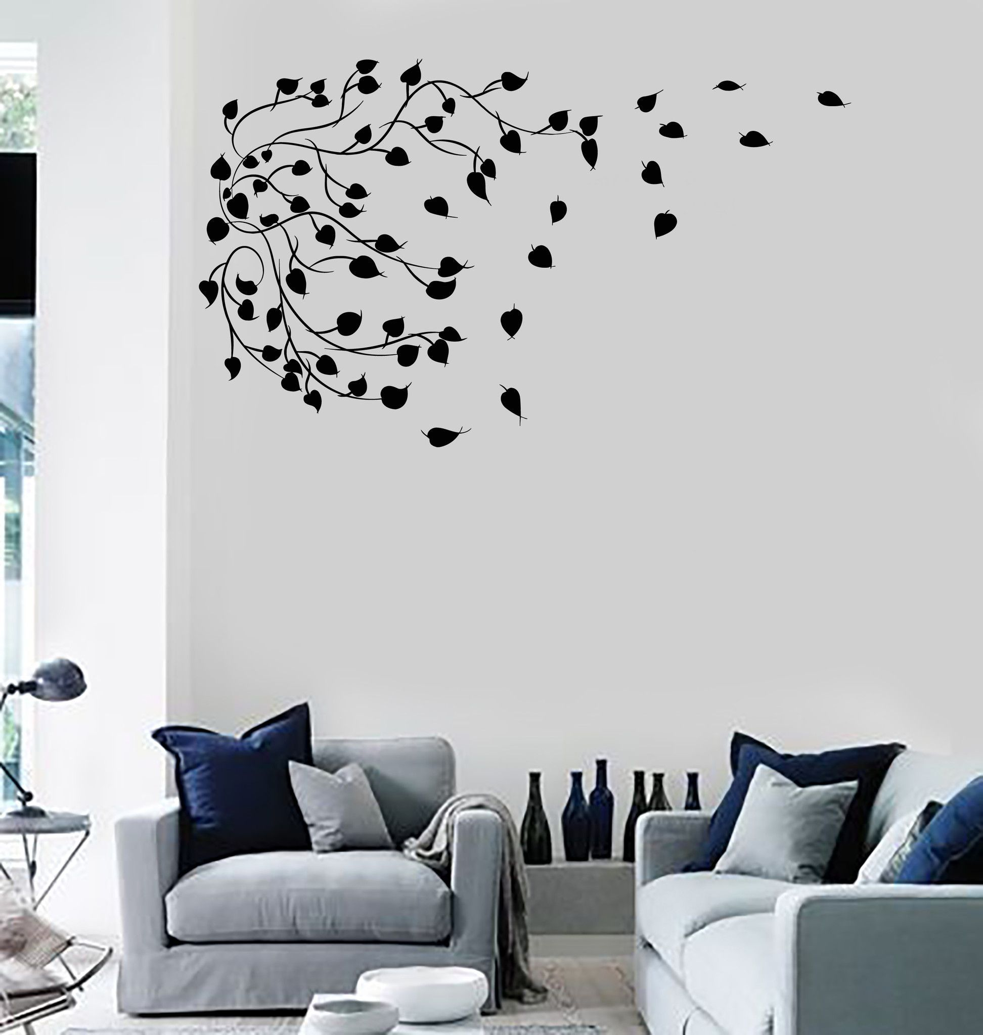 Vinyl Wall Decal Branch Leaves Tree Art House Interior Art Stickers ...