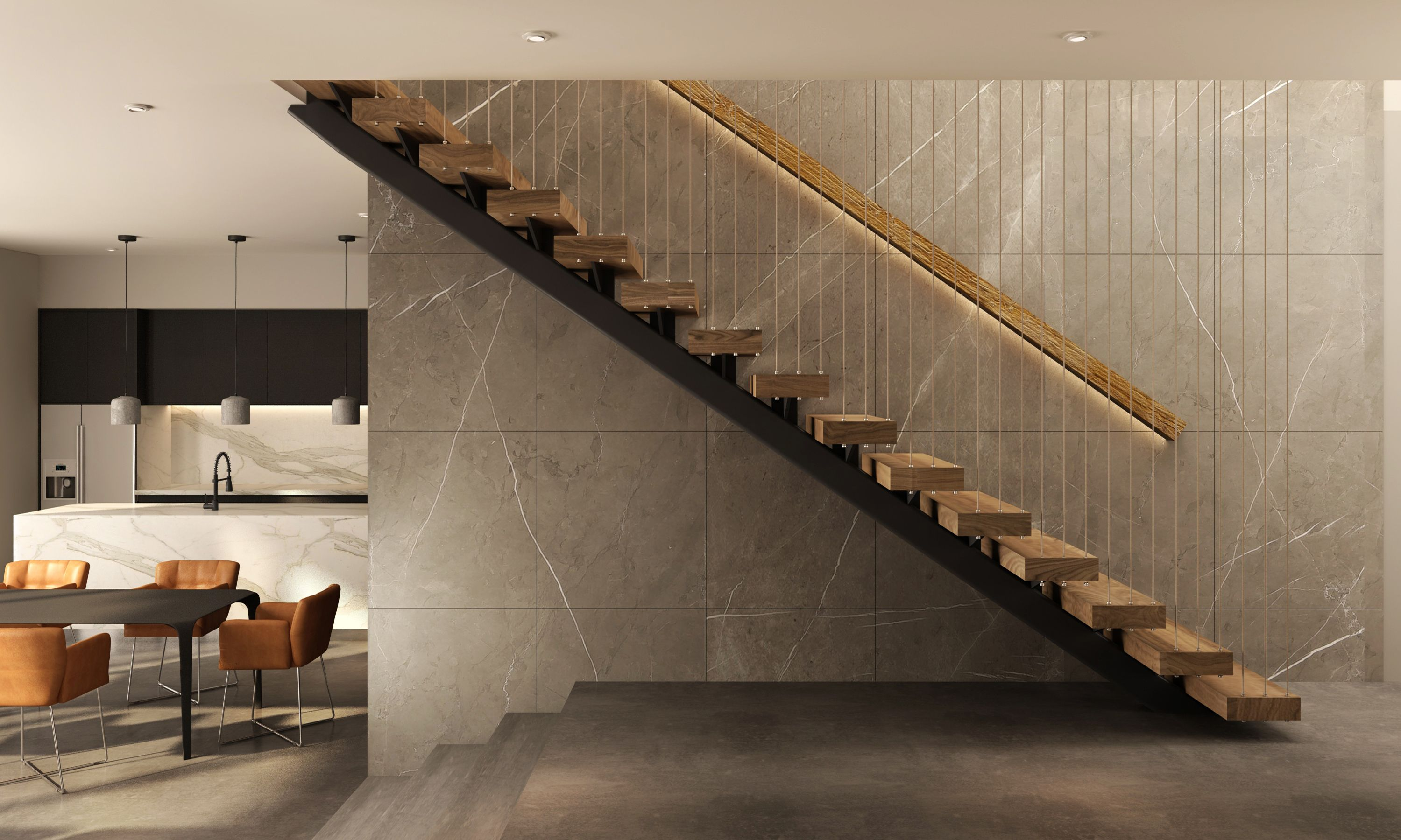 Single Steel Stringer Open Stairs To Upper Level Polished