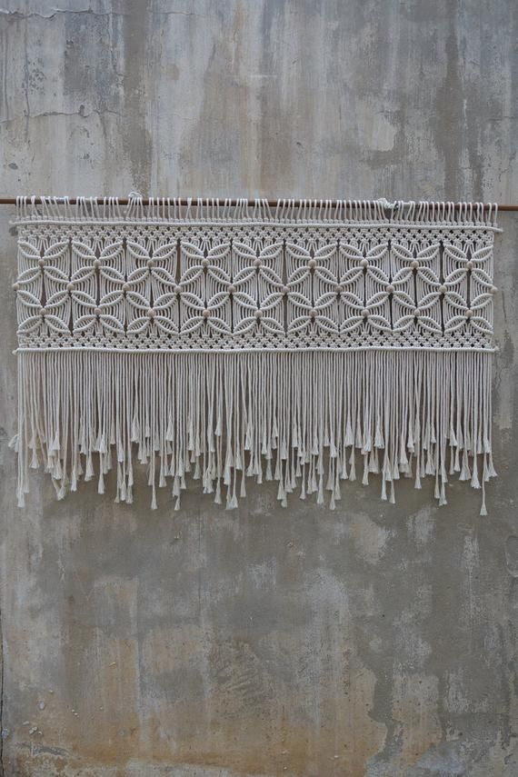 Over bed art, macrame headboard, modern woven decor, Bohemian wall art