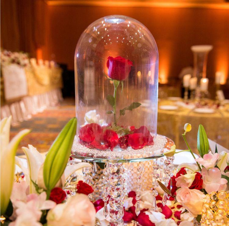 verzauberte rose im glas symbolisiert die ewige liebe diy deko ideen beast beauty wedding. Black Bedroom Furniture Sets. Home Design Ideas