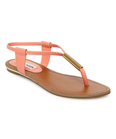 Another great find on #zulily! Coral & Gold Patent Hamil Leather Sandal #zulilyfinds
