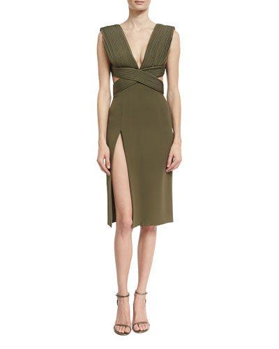 1dd7f0d9 B3LA0 Brandon Maxwell Piped-Bodice V-Neck Dress, Olive   DRESS Me ...