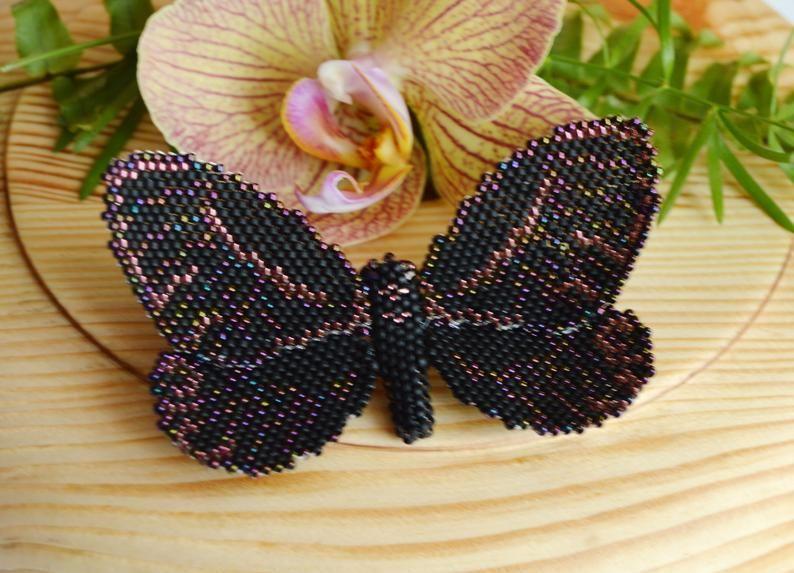 Black butterfly brooch Butterfly brooch Bead butterfly broach  Bridal brooch pin