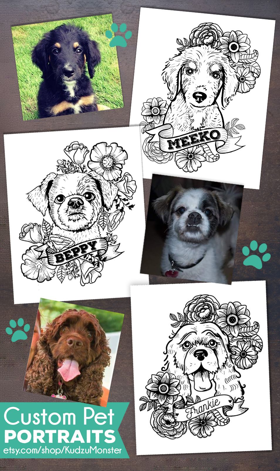 puppies tattoos personalized puppy portraits in a black and white graphic 8007