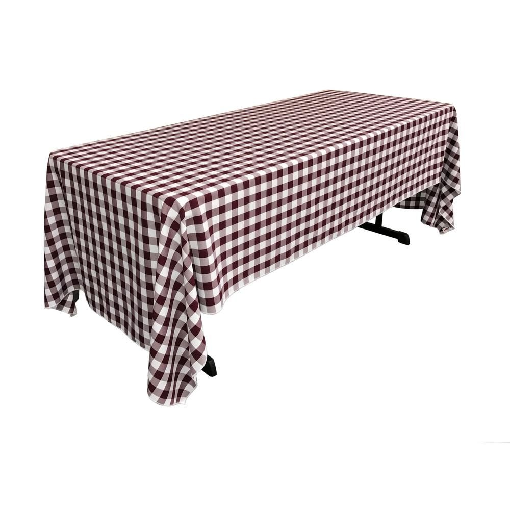 U002760 In. X 144 In. White And Burgundy Polyester Gingham Checkered  Rectangular Tableclothu0027, White/Red. U0027