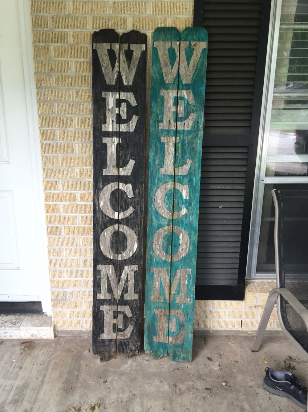 Rustic welcome signs on old pickets black and teal my diy rustic welcome signs on old pickets black and teal rubansaba