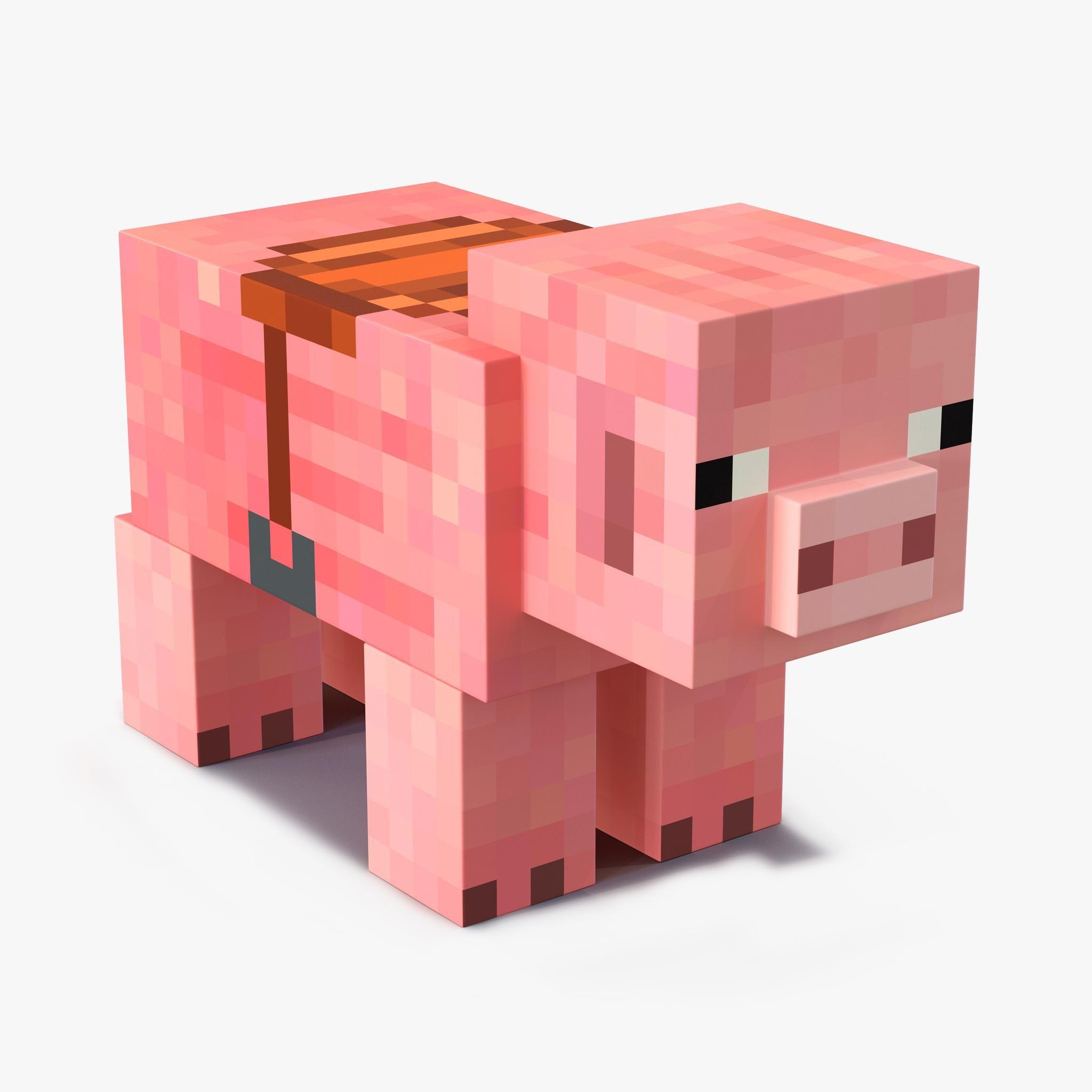 Minecraft Pig with Saddle 9D Model #AD ,#Pig#Minecraft#Model
