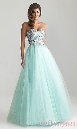 Strapless Sweetheart A-line Ball Gown by Night Moves 6669 at PromGirl.com