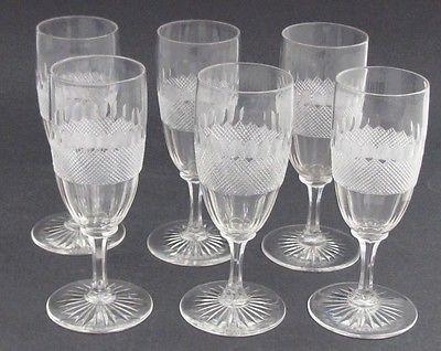 Vintage Cut Glass stems crosscut and facet 6 piece set