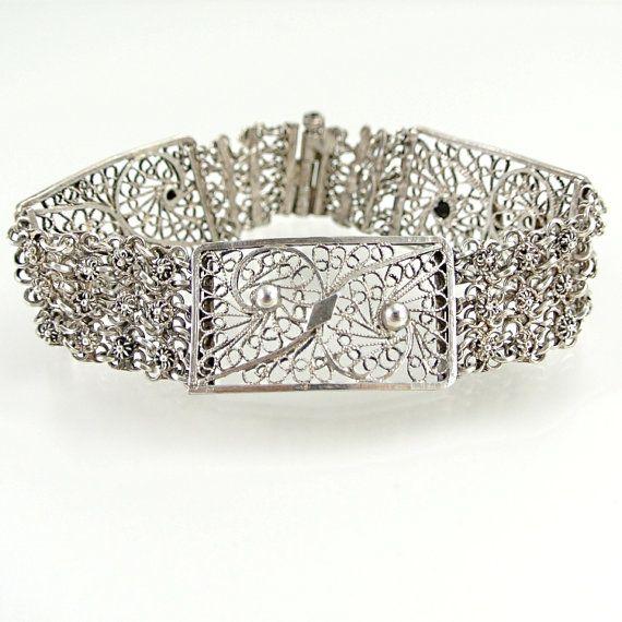 Vintage Silver Bracelet Filigree Scroll by ChatsworthVintage, $18.00