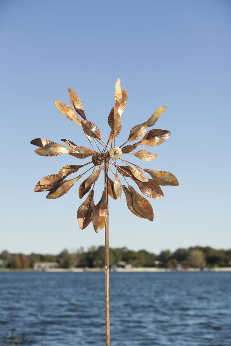 Impressive Metal Wind Spinner Stands Tall Above Most Garden Plants And  Makes An Enchanting Accent For Yard Or Garden. Steel With Flamed Copper  Finish.