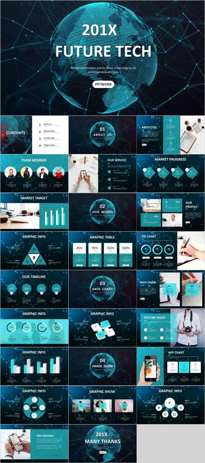 Blue Business Data Technology Powerpoint Template Pcslide