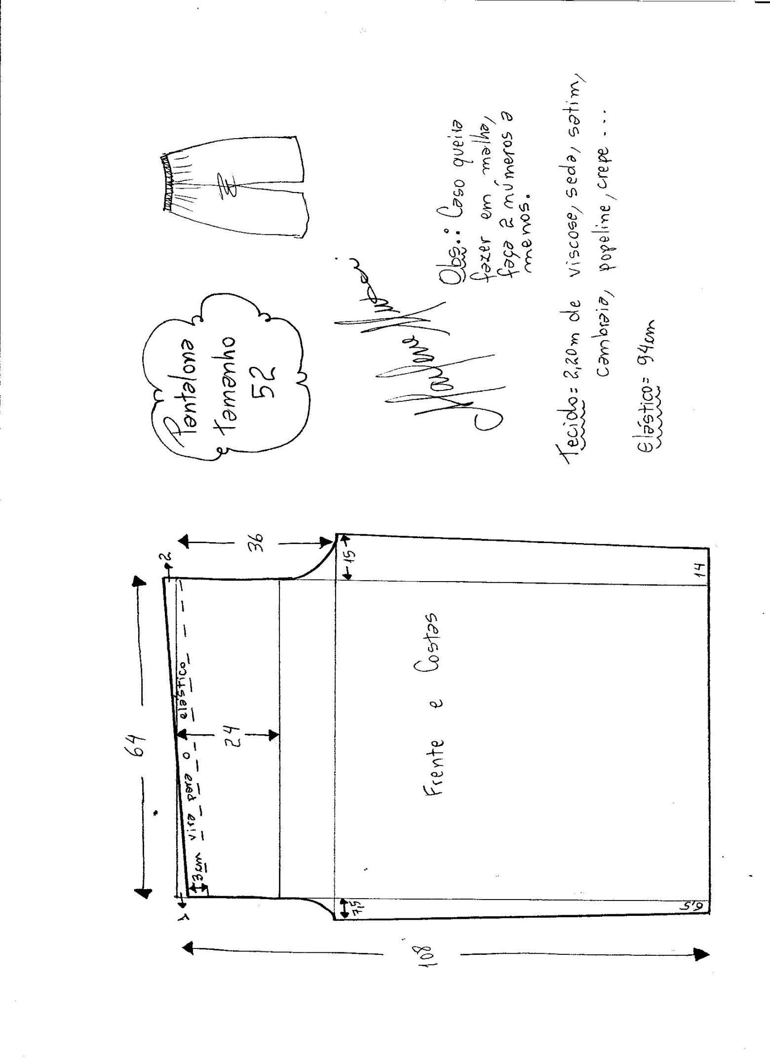 Esquema de modelagem de pantalona com elástico tamanho 52.