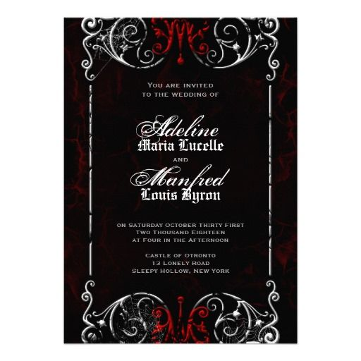 Gothic victorian spooky red black white wedding card invites gothic victorian spooky red black white wedding card stopboris Choice Image
