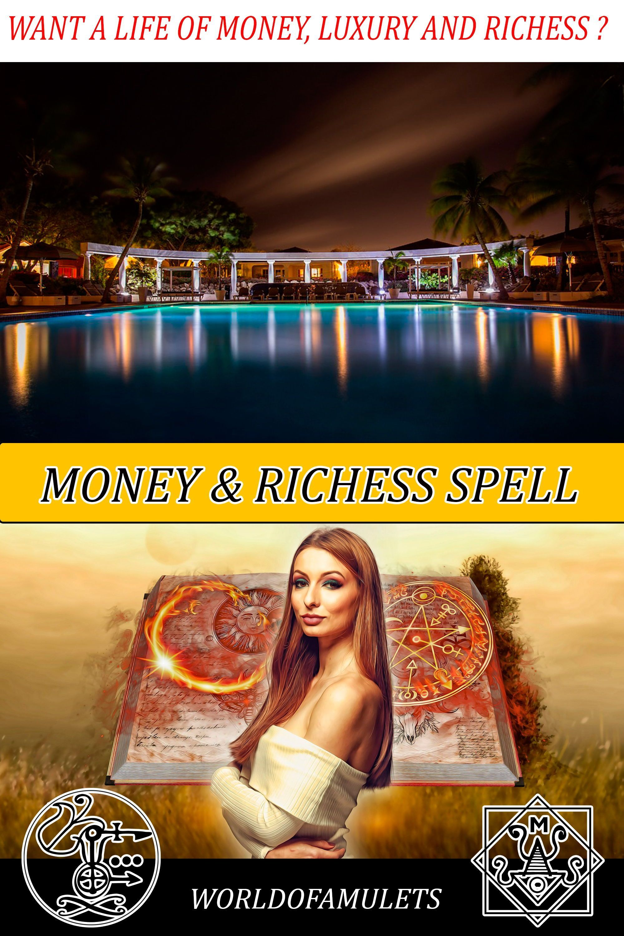 Witchcraft Wealth and Money Spell with Baal School of witchcraft and Wizardry School Beginner Witchcraft Spells #moneyspells Want a life of richess, money, wealth, expensive jewelry, luxury cars and homes and dream vacations?  Our Money Spell can make this true. Check the reviews  #money #spell #wealth #richess #moneyspells