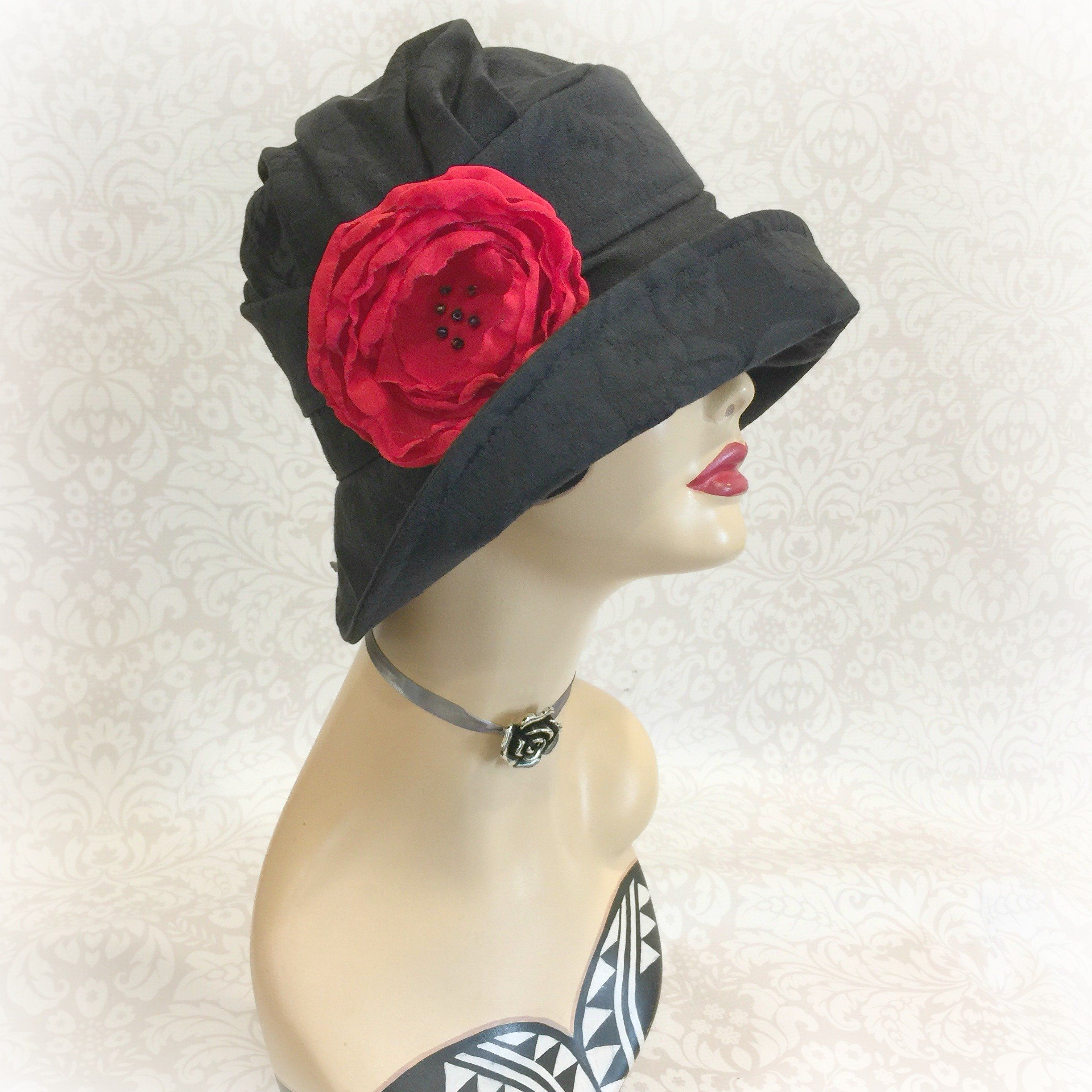 5e488d8d5b587 1920 s Black Cloche Hat - Flapper Style Alice with Rose Brooch ...