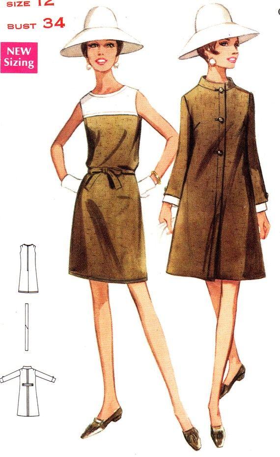 1960s Dress Pattern Butterick 4741 Mod Sleeveless A line Dress and ...