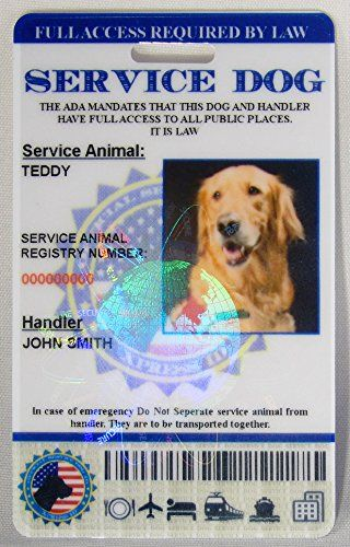 Holographic Service Dog Id Card Vertical Service Dogs Dog Id