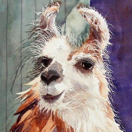 watercolor llama
