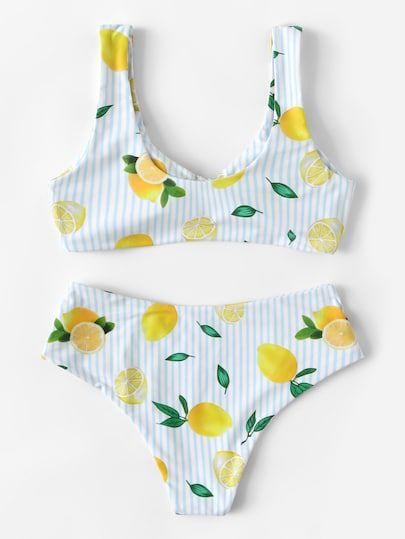 0a29e631f7 Random Striped and Lemon Print Knot Bikini Set -ROMWE