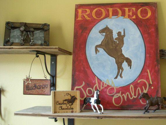 sale 16 x 20 rodeo time painting plus cowboy room decor boys kids