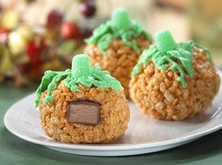 surprise pumpkin treats recipe kelloggs rice krispies a totally cute idea for halloween and there are others too