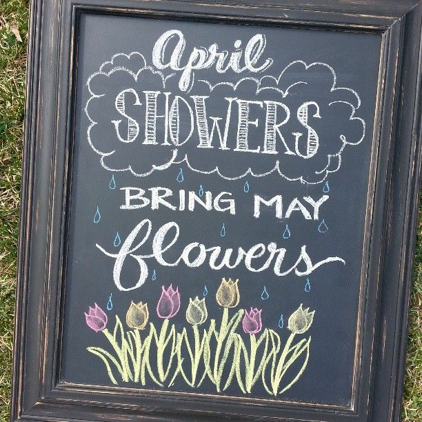 Blackboard Artwork Ideas: April Showers Bring May Flowers Spring Chalkboard
