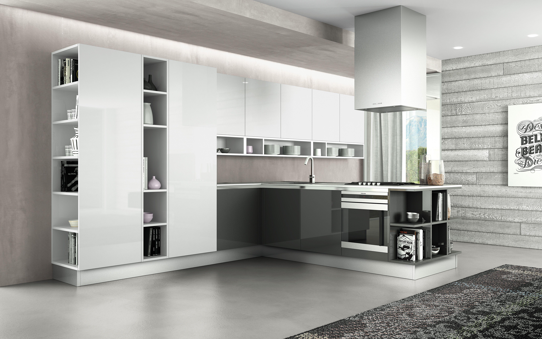 Berloni Cucina B-50 Laccato Bianco Calce lucido + Laccato Fumo ...