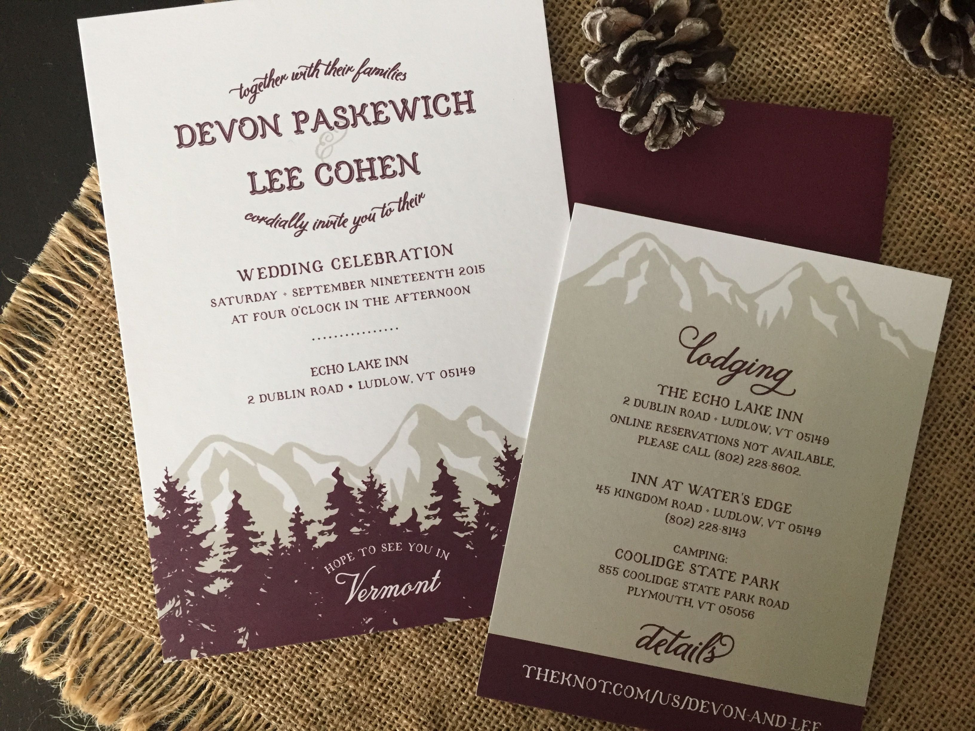vermont woods wedding invitation suite