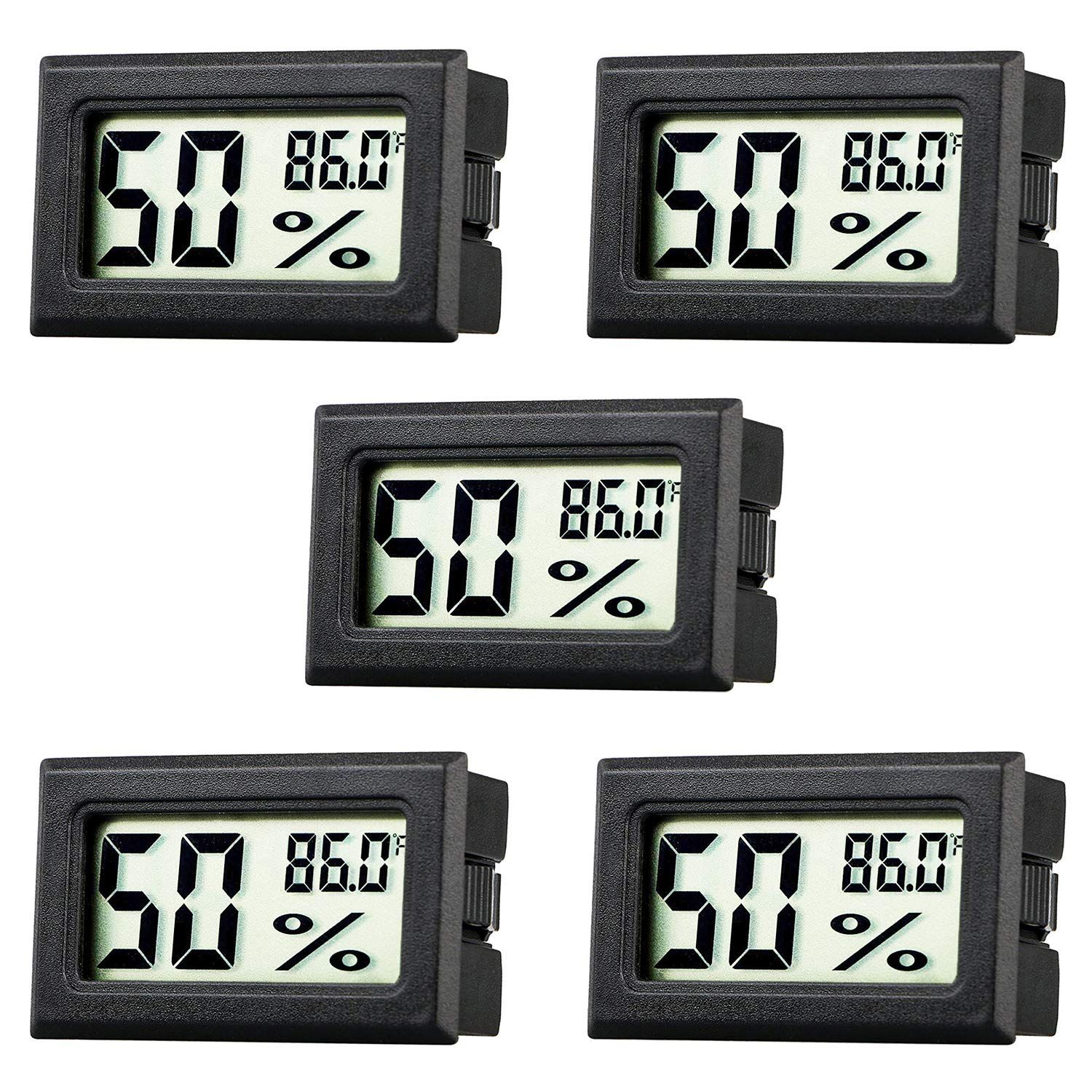Rojuna 5 Pack Mini Thermometer Hygrometer Small Digital Electronic