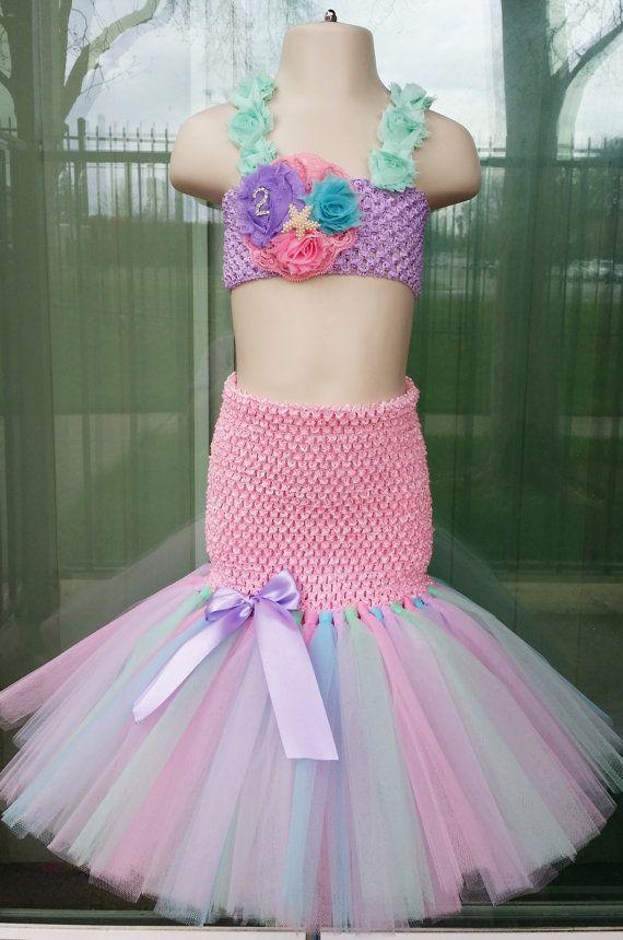 Rainbow Mermaid tutu dress. Ariel tutu dress. by BlueMoonBowtique ...