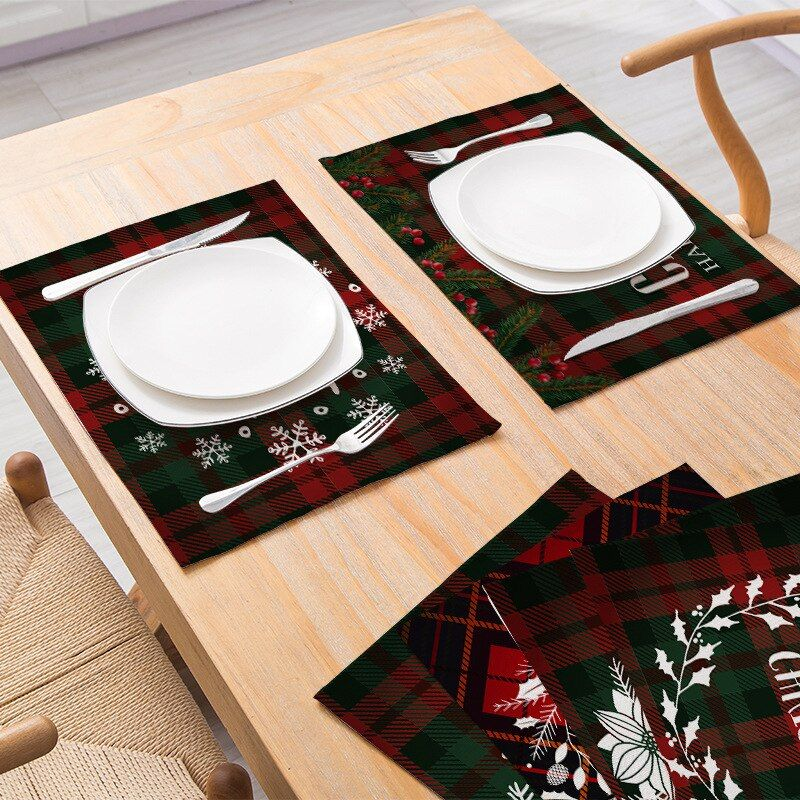 Free Ship Christmas Placemat Dining Table Dining Mat Plaid Print Christmas Letter Coaster Anti Slip Insul Christmas Placemats Dining Mats Christmas Lettering
