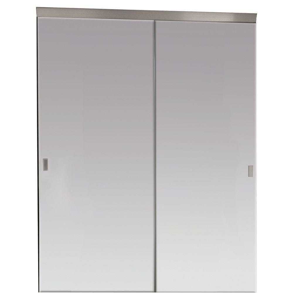 Impact Plus 60 In X 80 In Beveled Edge Backed Mirror Aluminum Frame Interior Closet Slidin In 2020 Sliding Mirror Closet Doors Mirror Closet Doors Glass Closet Doors